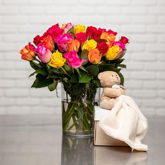 Bouquet de roses et doudou ours